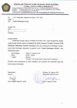 "undangan bimbingan skripsi - Stiba ""SATYA WIDYA"" Surabaya"