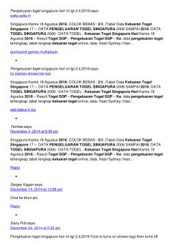 Pengeluaran togel singapura hari ini tgl 2,4,2016
