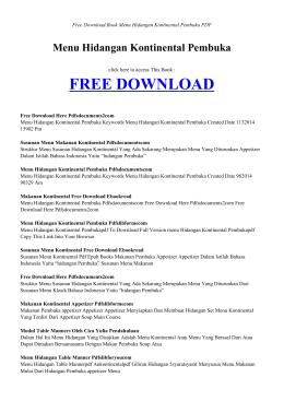 MENU HIDANGAN KONTINENTAL PEMBUKA | Free Book