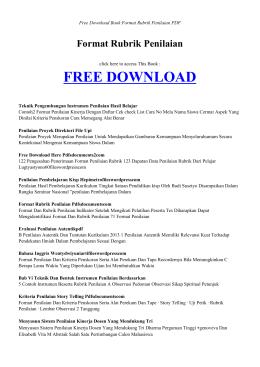 FORMAT RUBRIK PENILAIAN   Free Book PDF