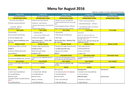 Menu for August 2016 - Concordian International School