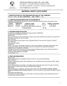MATERIAL SAFETY DATA SHEET - บริษัท ไทย อีเอส เคมีภัณฑ์