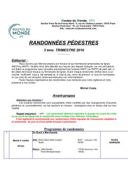 Les randonnées parisiennes 3ème trimestre 2016 - ATC