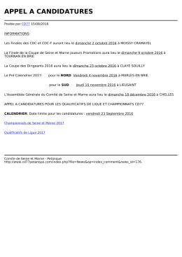 appel a candidatures - Comite de Seine et Marne