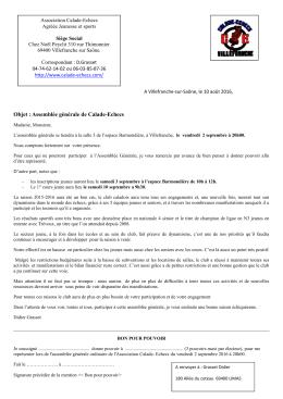 Objet : Assemblée générale de Calade