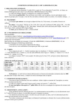CONDITIONS GENERALES DU CAMP LLBMGFRANCE 2016 I