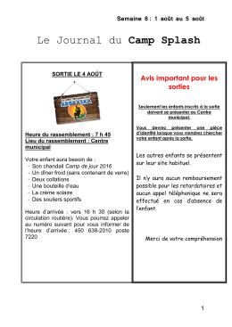 Journal du campeur - Semaine 6 - Ville de Saint