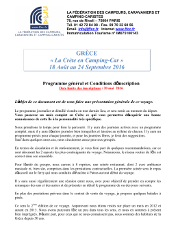 Programme général et Conditions d`inscription