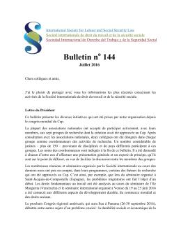 Bulletin n 144 - Academia Nacional de Direito do Trabalho