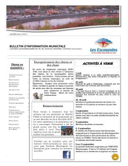 ACTIVITÉS À VENIR - Municipalité des Escoumins