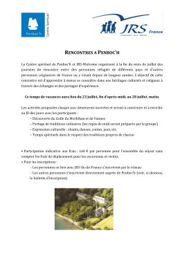 RENCONTRES A PENBOC`H