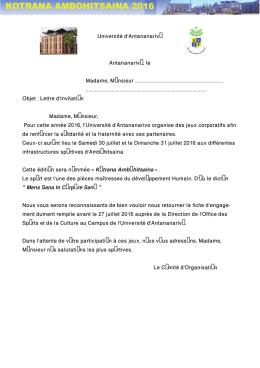 lettre d`invitation pour la participation