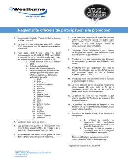 Règlements officiels de participation à la promotion