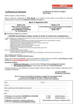 Conférences du Club Social Mardi 13 Septembre 2016 9h30 à 12h