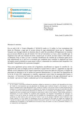 Lettre ouverte à M. Bernard CAZENEUVE, Ministre de l`intérieur