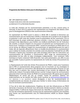 Programme des Nations Unies pour le développement REF : RFP