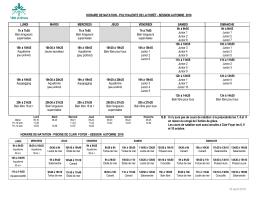 Horaire des cours de natation - automne 2016