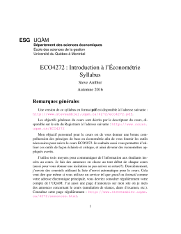 ECO4272 : Introduction `a l`´Econométrie Syllabus
