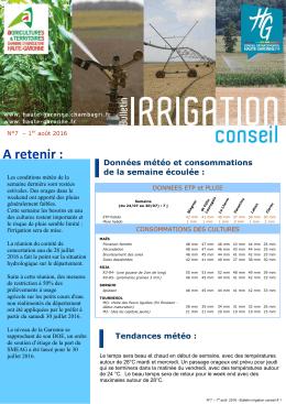Bulletin Irrigation N°7 - Chambre d`Agriculture de Haute