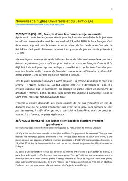 Selection N°244 Nouvelles de l`Eglise Universelle et du Saint
