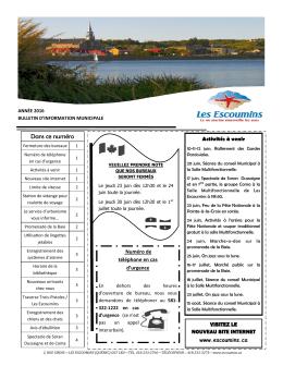 Juin 2016 - Municipalité des Escoumins