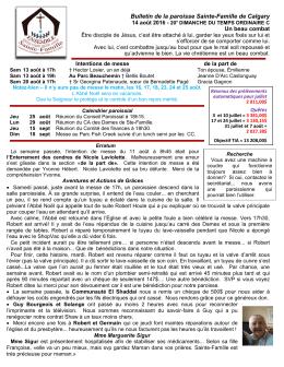 Bulletin de la semaine - Paroisse Sainte