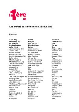 Playlist La 1ère 22 août.doc