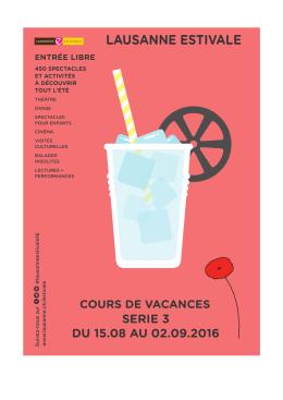 Programme Lausanne Estivale Série 3