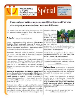 Infolettre Sp\351cial SQPH - Parrainage civique des MRC d`Acton et