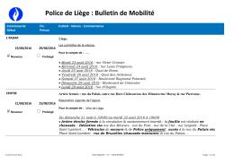Police de Liège : Bulletin de Mobilité
