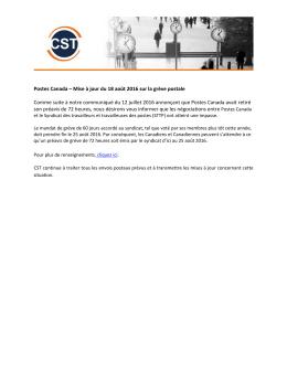Postes Canada – Mise à jour du 18 août 2016 sur la grève postale