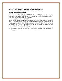 REPORT DES TRAVAUX DU PONCEAU DE LA ROUTE 133 Mise à
