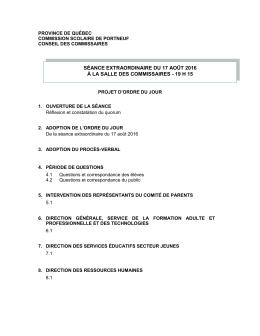 Projet d`ordre du jour - Commission scolaire de Portneuf