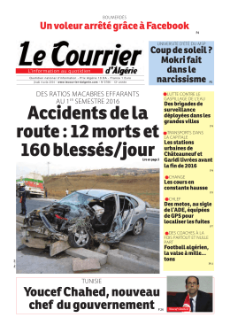 Accidents de la route : 12 morts et 160 blessés/jour