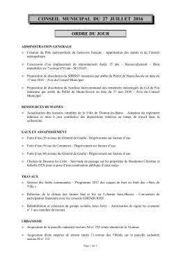 conseil municipal du 27 juillet 2016 ordre du jour - Thonon-les