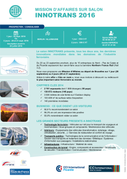 Offre mission Innotrans 2016