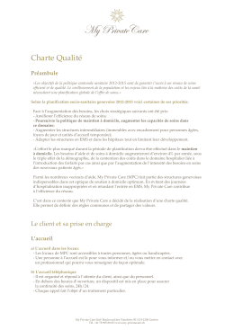 Charte Qualité - My Private Care