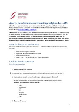 Aperçu des questions myhandicap.belgium.be