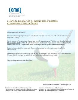 Formulaire d`inscription de l`Annuel de golf