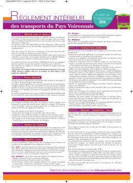 Réglement intérieur - Communauté du Pays Voironnais