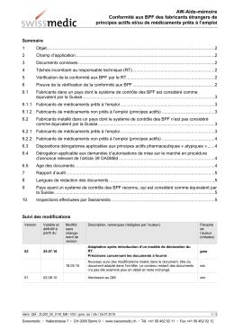 Conformité aux BPF des fabricants étrangers de