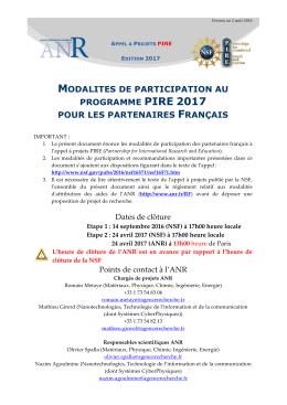 Modalités pour les participants français