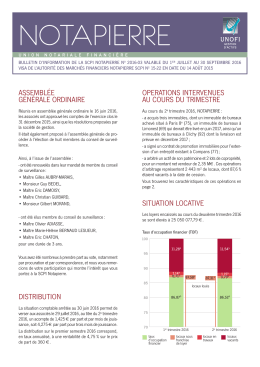 Bulletin d`information trimestriel Juillet 2016