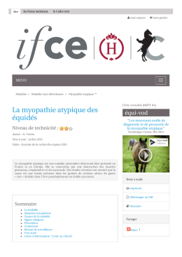 Myopathie atypique - Les Haras nationaux