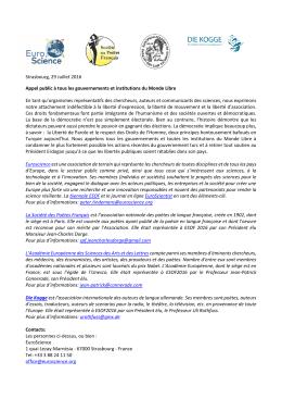 Strasbourg, 29 Juillet 2016 Appel public à tous les - netdna