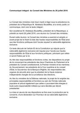 Communiqué intégral du Conseil des Ministres du 26 juillet 2016 Le