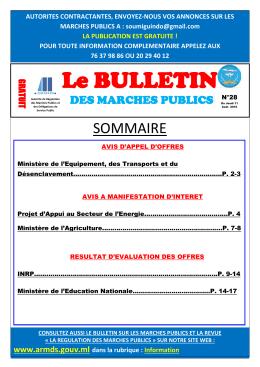 Bulletin des Marchés Publics N°28