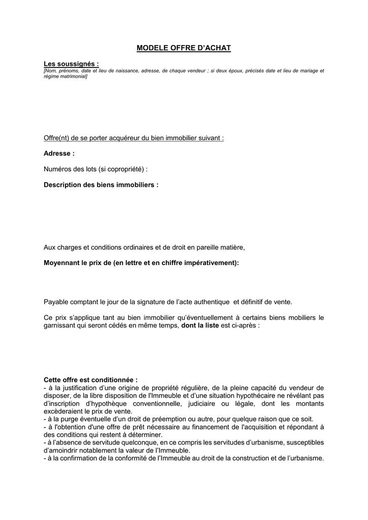 Telecharger Le Fichier Modele Offre D Achat