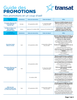 Guide des PROMOTIONS
