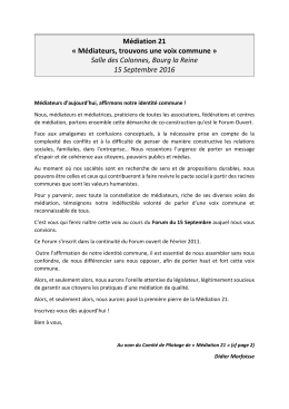 invitation forum ouvert - Association Nationale des Médiateurs
